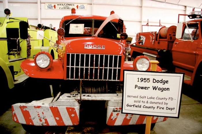 1955 Dodge Power Wagon at 1929 Ford Pickup at Utah Museum of Fire Service History and Firefighter Memorial